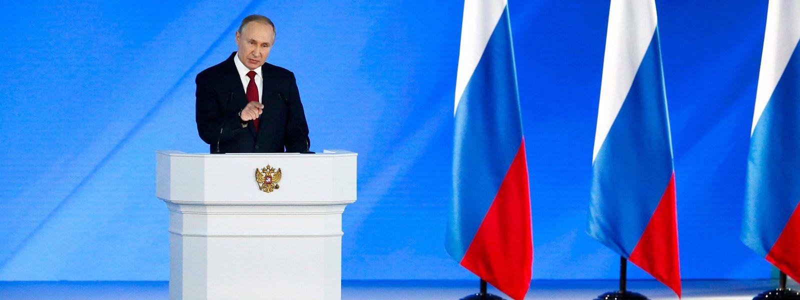 Der russische Präsident Vladimir Putin bei seiner Rede am 15. Januar.