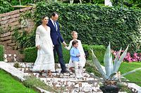 Crown Princess Victoria (L), Prince Daniel and their two children Oscar and Estelle walk in the garden of the family summer palace Solliden on Oland island in the Baltic on July 14, 2020. - The Crown Princess celebrates her birthday with just her close family because of the ongoing coronavirus pandemic. (Photo by Jonas EKSTROMER / TT News Agency / AFP) / Sweden OUT