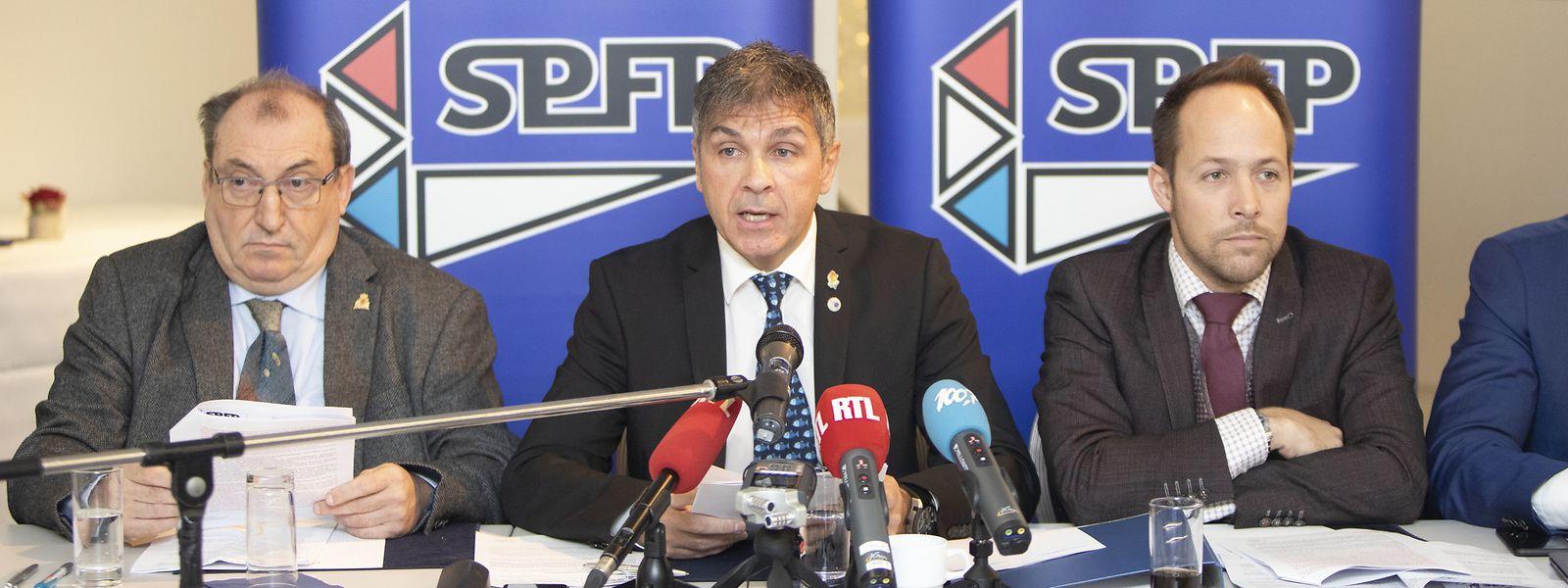 De gauche à droite: Patrick Frantz, président honoraire du SPAL, Pascal Ricquier, président du SPFP, et Christian Schleck, président du SPAL.