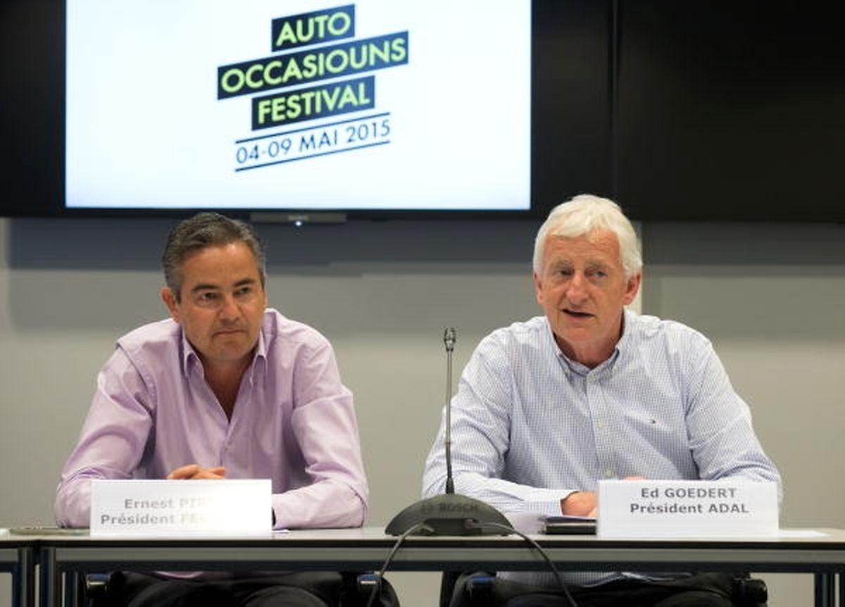 """""""Ein sehr wichtiger Geschäftsbereich"""": Fégarlux-Präsident Ernest Pirsch und Adal-Präsident Ed Goedert bei der Vorstellung des diesjährigen """"AutoOccasiounsfestival""""."""