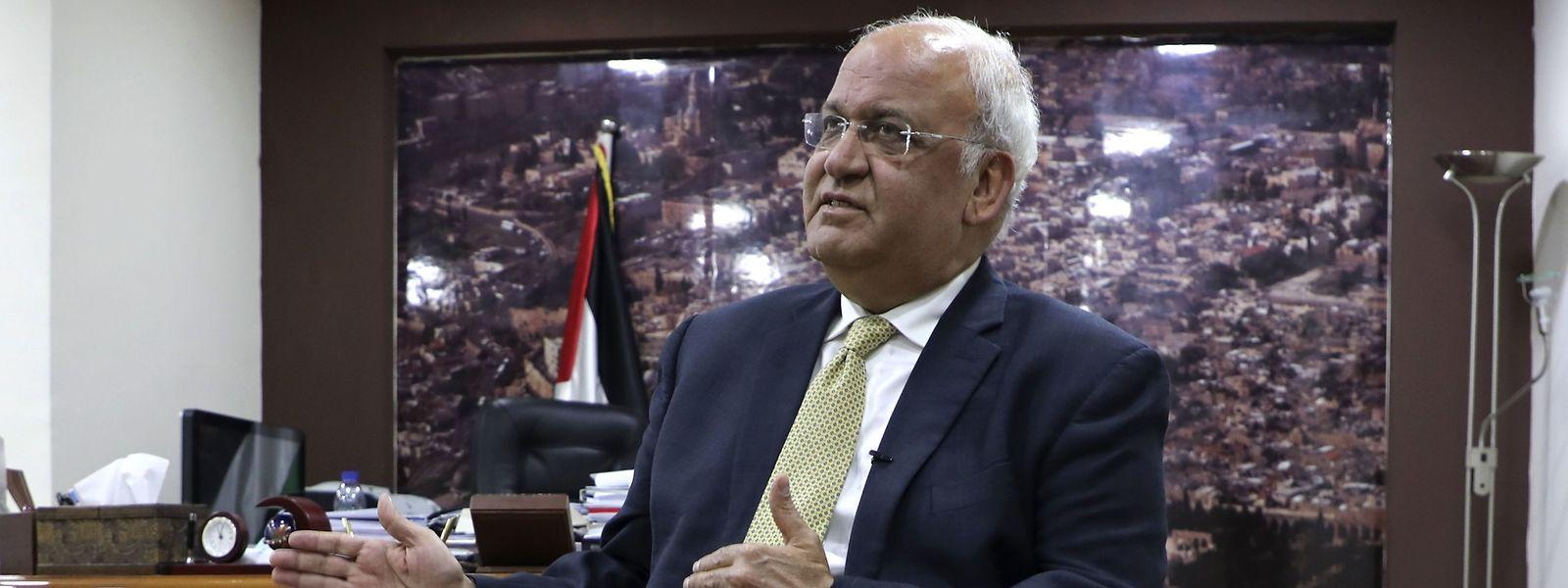 Generalsekretär der Palästinensischen Befreiungsorganisation Saeb Erekat Anfang März.