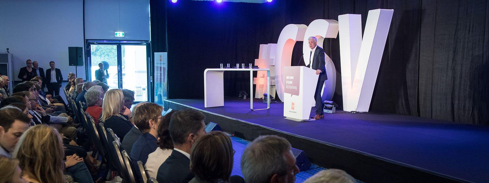 Der nationale CSV-Spitzenkandidat Claude Wiseler wusste die Parteimitglieder beim Nationalkongress in Dommeldingen zu begeistern.