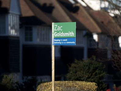 A sign supporting independent candidate Zac Goldsmith, in the upcoming by-election for Richmond Park, is pictured in a residential neighbourhood in Richmond, south-west London on November 29, 2016.