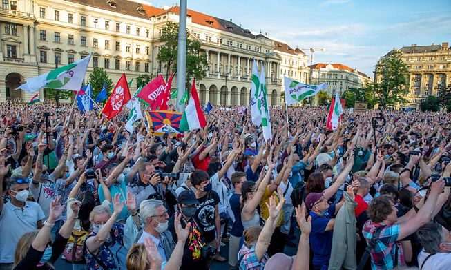 Demonstrators in Budapest protest against the right-wing Fidez party of PM Viktor Orban and the planned construction of a Chinese university in the city