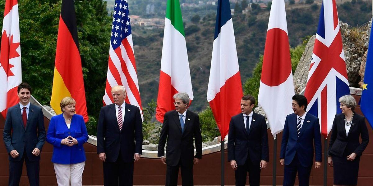US-Präsident Trump (3. von links) isoliert sich zunehmend im Kreis der sieben großen Industrieländer.