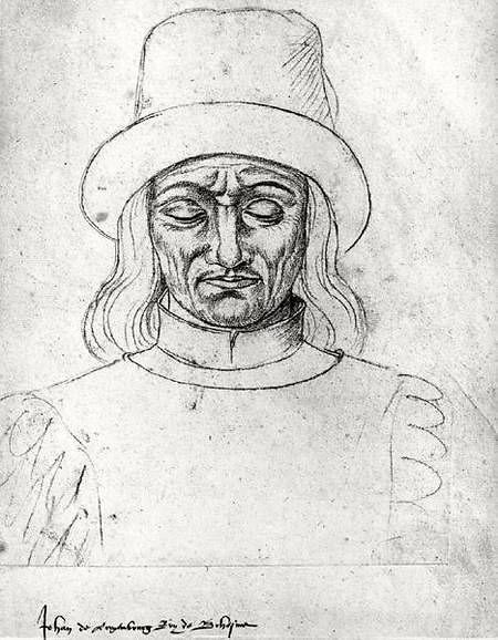Jehan de Luxembourg, roi de Bohême, dessin au crayon, Recueil d'Arras