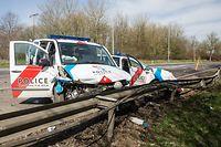 Collision entre deux voitures de police - Weiswampach - Photo :  Pierre Matgé