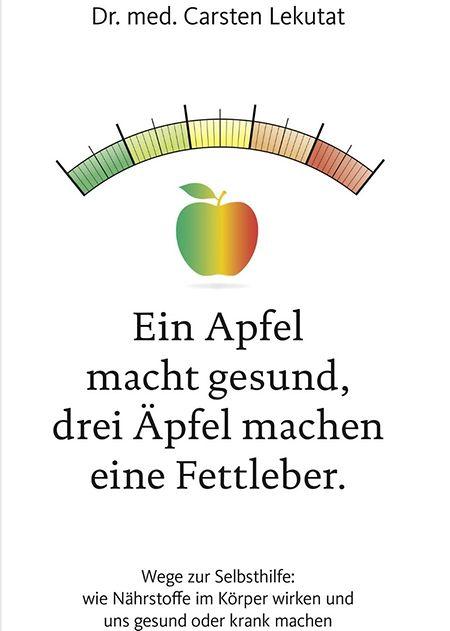 """Dr. med. Carsten Lekutat: """"Ein Apfel macht gesund, drei Äpfel machen eine Fettleber"""". Becker Joest Volk Verlag, ca. 200 Seiten, ISBN 978-3-95453-172-1, € 19,95"""