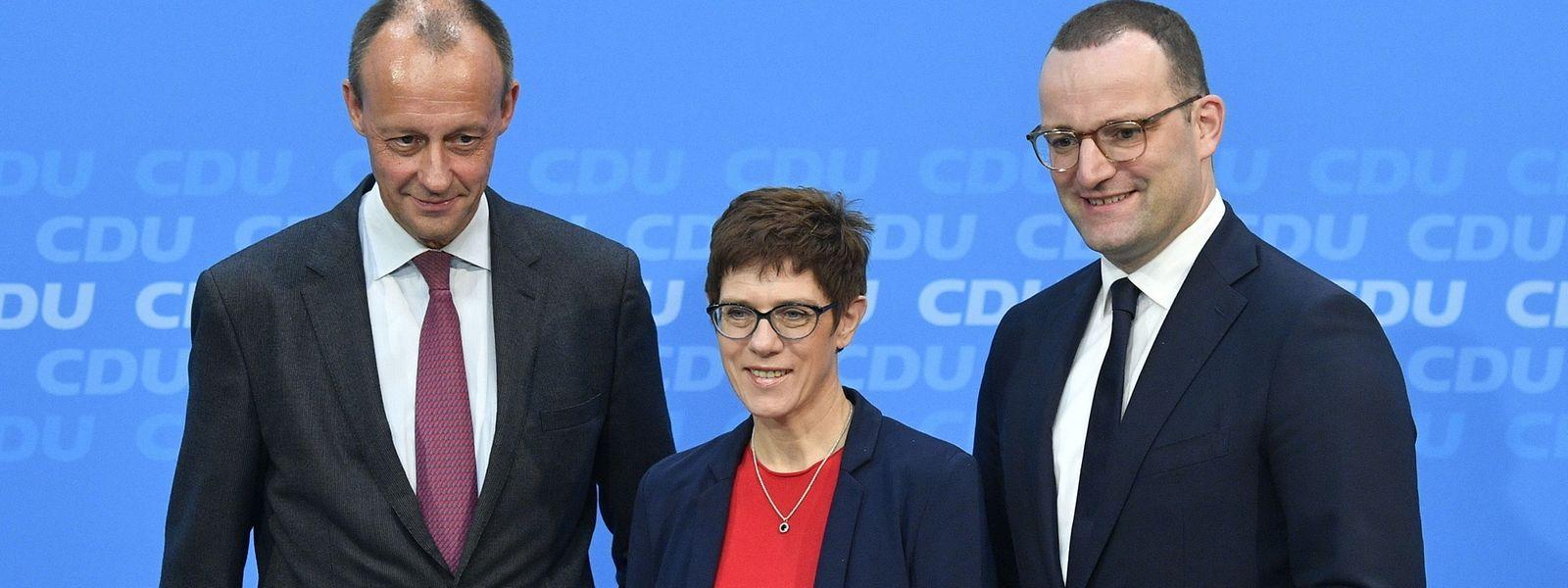 Am Freitag fallen die Würfel über den Vorsitz auf dem 31. CDU-Parteitag. Die drei Favoriten sind Friedrich Merz, Annegret Kramp-Karrenbauer und Jens Spahn (v.l.n.r.).