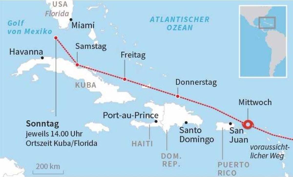 """""""Irma"""" könnte am Sonntag in Florida auf Land treffen. Auf dem Weg dahin liegen noch einige Inseln."""