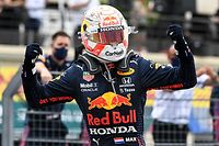 Winner Red Bull's Dutch driver Max Verstappen celebrates after crossing the finish line during the French Formula One Grand Prix at the Circuit Paul-Ricard in Le Castellet, southern France, on June 20, 2021. (Photo by CHRISTOPHE SIMON / AFP)