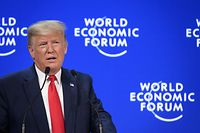 US president Donald Trump delivers a speech at the Congres center during the World Economic Forum (WEF) annual meeting in Davos, on January 21, 2020. (Photo by Fabrice COFFRINI / AFP)