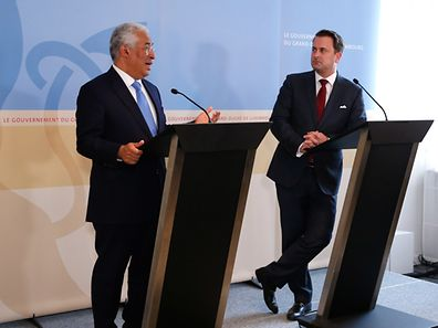 Visite officielle du Premier ministre portugais Antonio Costa, Xavier Bettel lors de la conférence de presse, le 05 Avril 2017. Photo: Chris Karaba