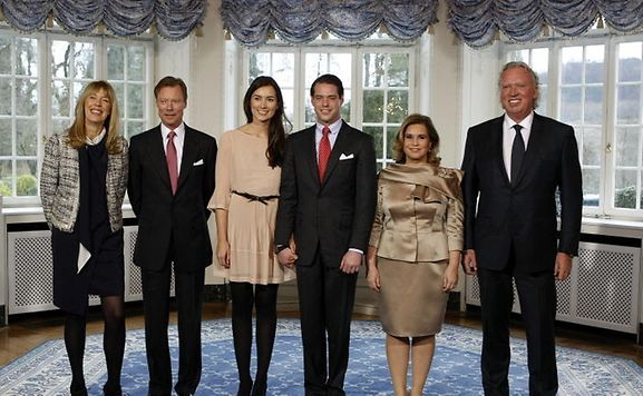 Gabriele (1st left) and Hartmut Lademacher (1st right) both very proud during the first official photo session after the engagement of Prince Félix and Claire.