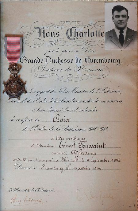 Depois da guerra, Toussaint seria condecorado a título póstumo pela grâ-duquesa Charlotte