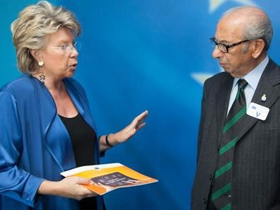 95-year-old Briton Harry Shindler with Viviane Reding
