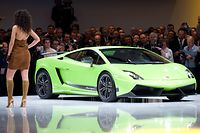 Lamborghini shows the new Gallardo  model at the Volkswagen Group event in Geneva, Switzerland, Monday, March 1, 2010. About 250 exhibitors from 30 countries are showing 100 car premieres at the International Geneva Motor Show until March 14. (AP Photo/Martin Meissner)