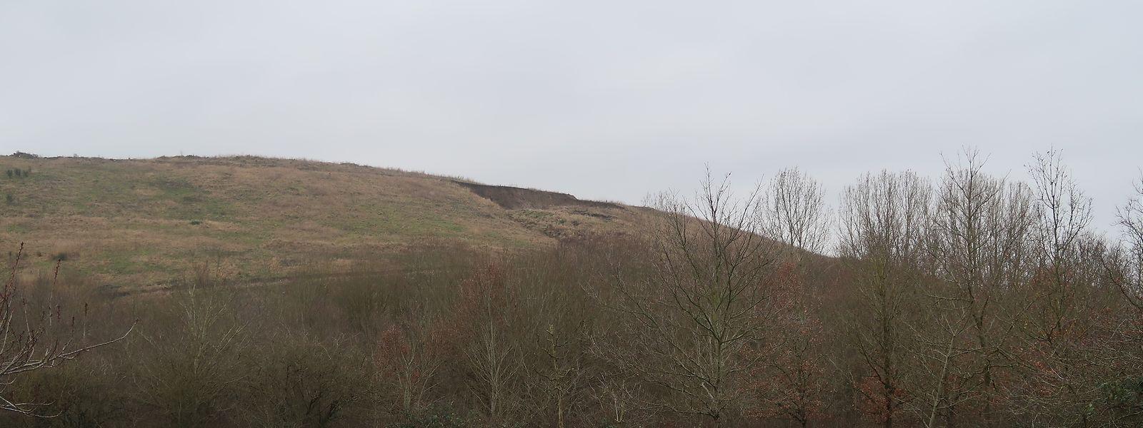Der neue Erdrutsch fand oberhalb der Deponie Richtung Monnerich statt, in einem Bereich relativ weit von der neuen Straße entfernt.