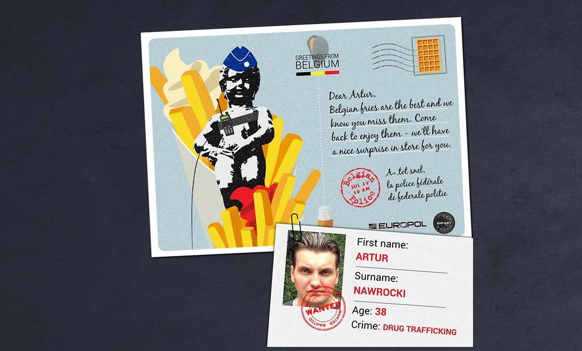 In der belgischen Postkarte werden einem Drogenhändler die berühmten Pommes angepriesen.