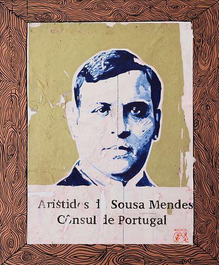 """Retrato de Aristides de Sousa Mendes na exposição """"Collage/Décollage"""""""