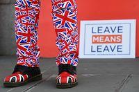 29.03.2019, Großbritannien, London: Ein Brexit-Anhänger demonstriert vor dem Parlament in Westminster, in dem die Abgeordneten voraussichtlich über einen Regierungsantrag zum EU-Austritt am Freitagabend beraten und abstimmen werden, für den Austritt aus der EU. Foto: Victoria Jones/PA Wire/dpa +++ dpa-Bildfunk +++