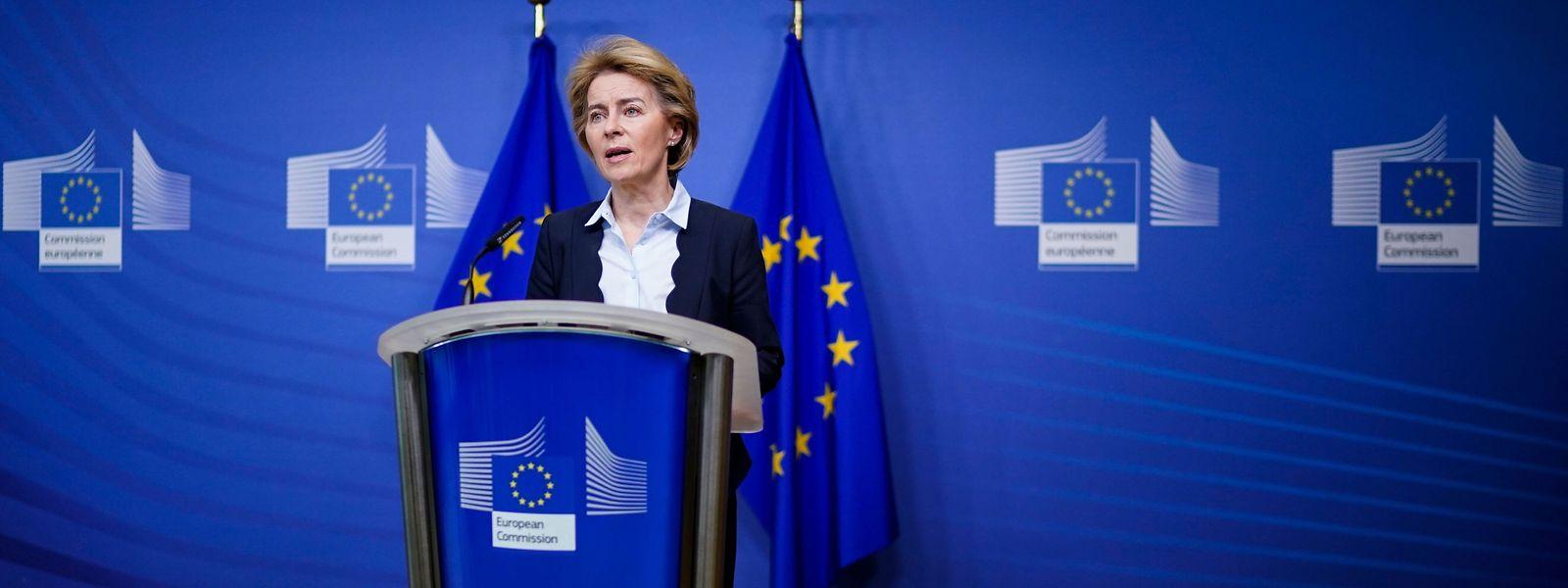 Die EU-Kommissionspräsidentin Ursula von der Leyen bei einer Pressekonferenz in Brüssel.