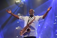 (FILES) In this file photo taken on June 29, 2018 Cameroon jazz saxophonist Manu Dibango performs during a concert at the Ivory Hotel in Abidjan. - Veteran Cameroon jazz star Dibango dies after contracting coronavirus, said his entourage en March 24, 2020. (Photo by Sia KAMBOU / AFP)
