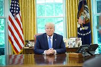 US President Donald Trump speaks during a meeting with advisors about fentanyl in the Oval Office of the White House in Washington, DC on June 25, 2019. (Photo by Mandel Ngan / AFP)