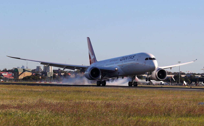 Die 787 Dreamliner beim Aufsetzen in Australien.
