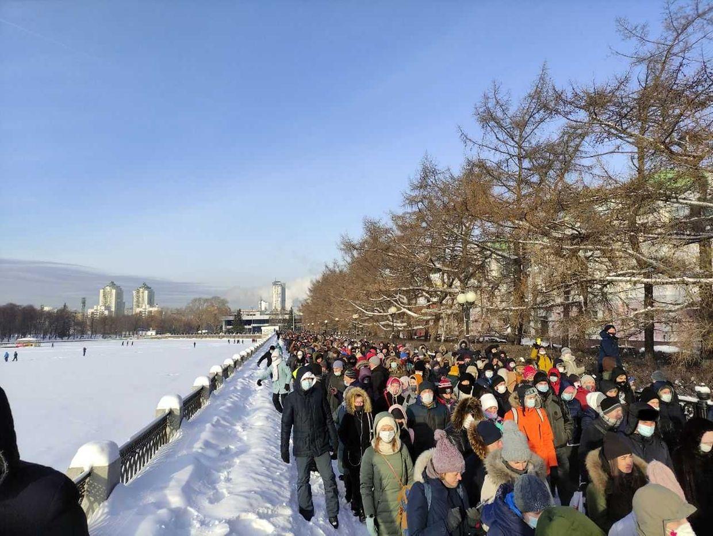 Protest in Jekaterinburg bei minus 29 Grad Celsius.