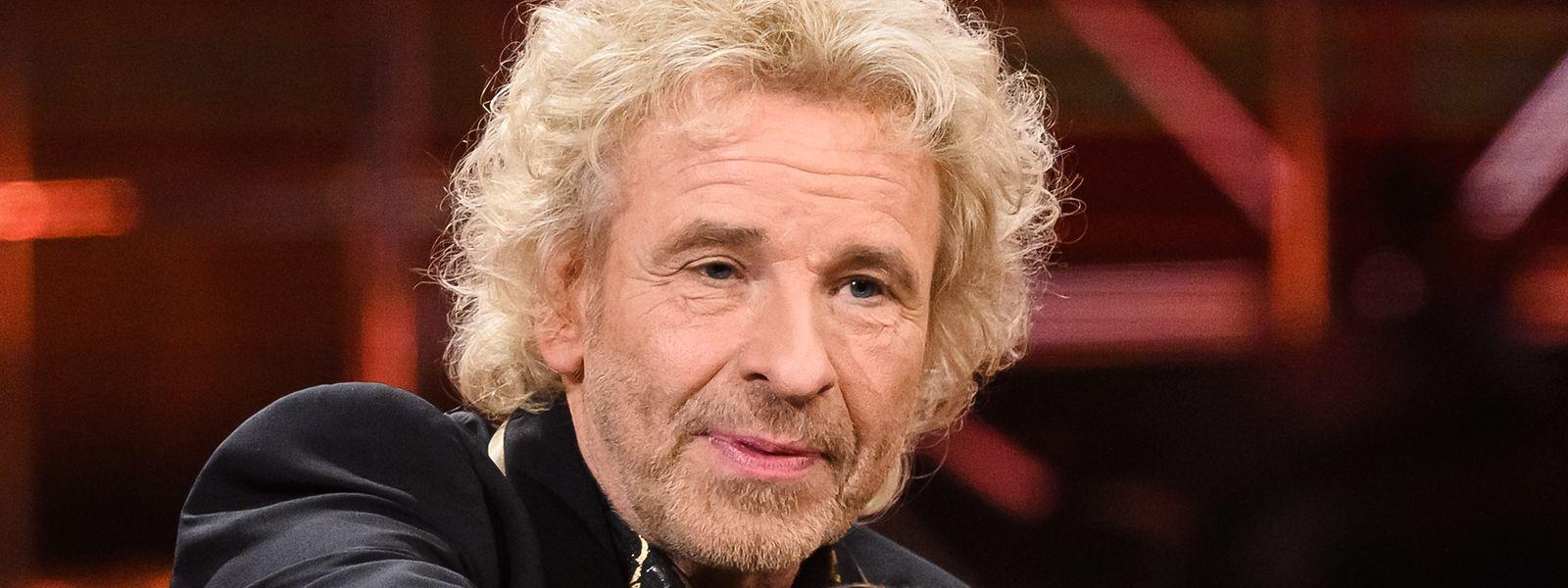 """Showmaster Thomas Gottschalk während der Aufnahme """"50 Jahre ZDF-Hitparade"""" in der Baden Arena."""