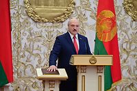 Belarus' President Alexander Lukashenko takes the oath of office during his inauguration ceremony in Minsk on September 23, 2020. (Photo by Andrei STASEVICH / BELTA / AFP)