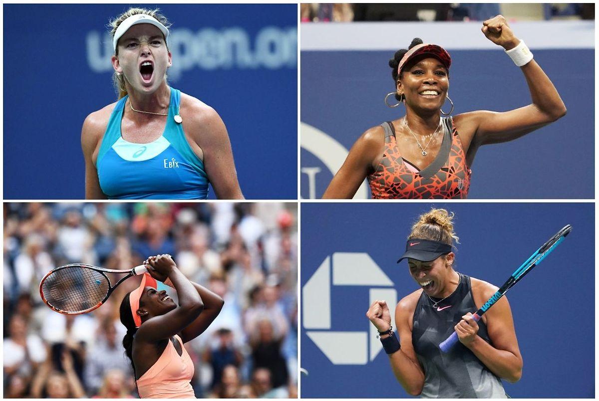 Un quatuor américain en demi-finale du tableau féminin: CoCo Vandeweghe, Venus Williams, Sloane Stephens et Madison Keys (de gauche à droite et de haut en bas)