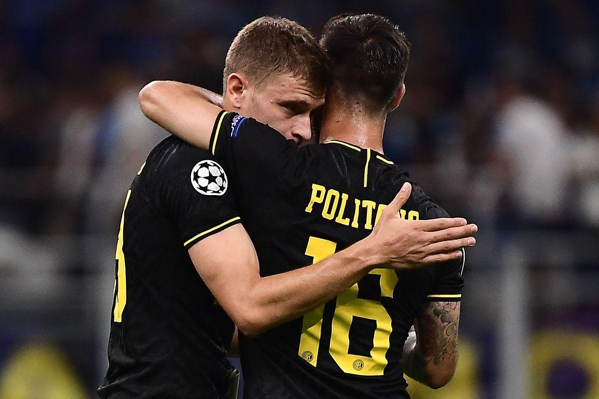 Inters Nicolo Barella (l.) und Matteo Politano können aufatmen.