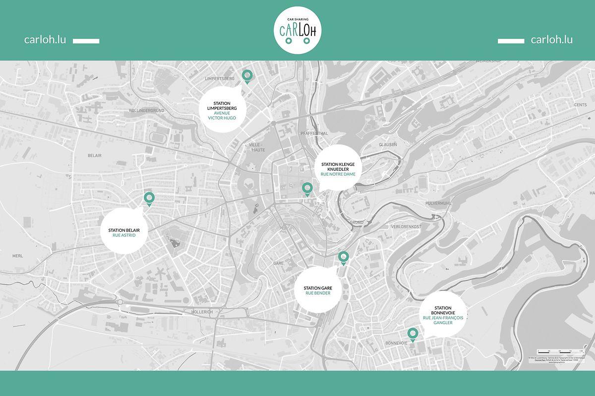 Les cinq premières stations du nouveau service de partage de voitures à Luxembourg.