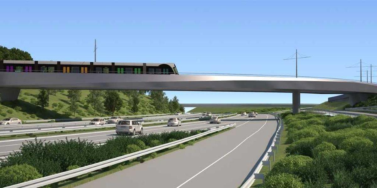 Über eine neu zu bauende Brücke wird die Tram späterhin von der Luxexpo aus über die Autobahn und anschließend zum Flughafen Findel fahren.