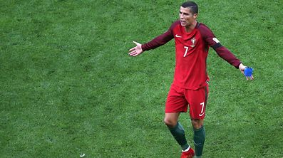 Cristiano Ronaldo reacts as he leaves the pitch during the 2017 Confederations Cup match between Portugal and Mexico.
