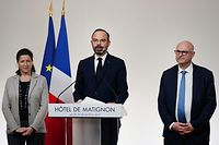 French Health and Solidarity Minister Agnes Buzyn (L) and French High Commissioner for Pension Reform Laurent Pietraszewski (R) listen as French Prime Minister Edouard Philippe (C) speaks after a meeting with labour union representatives at the Hotel de Matignon in Paris, on December 19, 2019, on the 15th day of a nationwide multi-sector strike against the government's pensions overhaul. (Photo by MARTIN BUREAU / POOL / AFP)