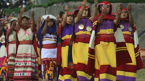 Actors perform in a recreation during the Inti Raymi or Sun Festival at the Sacsahuaman fortress compound in the hills above the Andean city of Cuzco, Peru on June 24, 2017. The Inti Raymi, celebrated from time immemorial, is the most important indigenous ceremony of the Peruvian Andes, held in honor of the god Inti