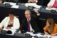 Member of European Parliament Axel Voss reacts after the vote on copyright in the Digital Single Market during a voting session during a plenary session at the European Parliament on September 12, 2018 in Strasbourg, eastern France. (Photo by FREDERICK FLORIN / AFP)