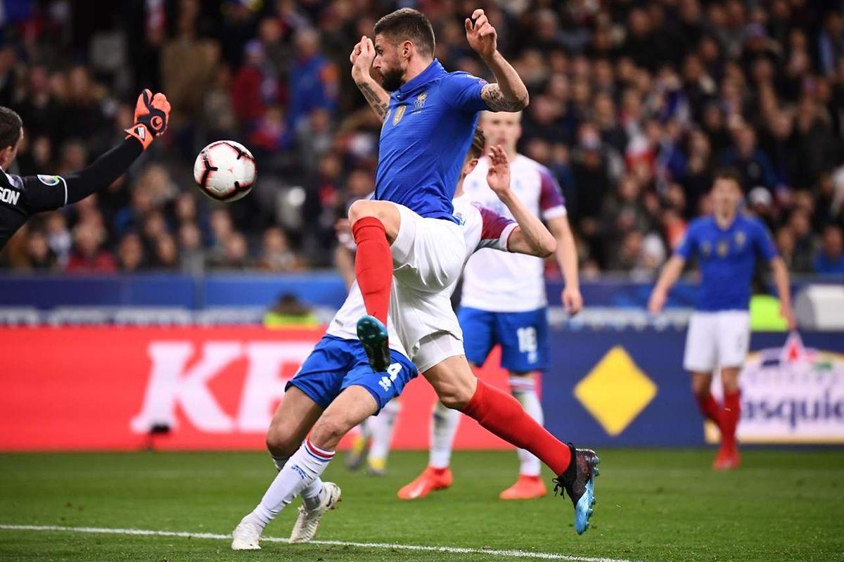 Olivier Giroud a inscrit son 35e but pour les Bleus face à l'Islande.