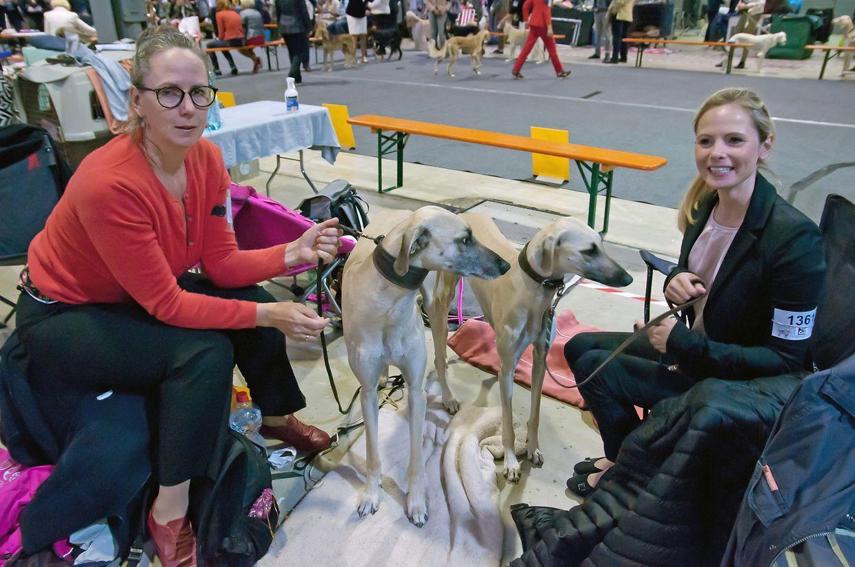 Michaela Treitel (l.) und Hanna Otten sind aus Deutschland zur Dog Expo angereist, um mit ihren beiden Arabischen Windhunden Jamil und Minou einen Preis zu ergattern.