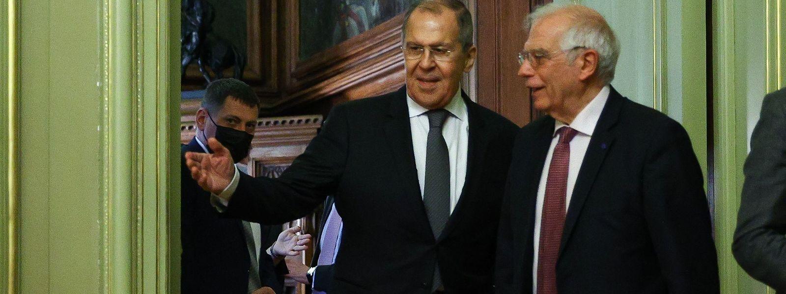 Russlands Außenminister Sergej Lawrow und der EU-Außenbeauftragte Josep Borrell (r.) betonen die Verbundenheit zwischen Russland und der EU.