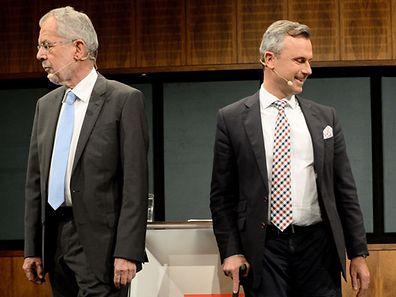 The two candidates for the Austrian presidency, Alexander Van der Bellen (L) and Noebert Hofer as they arrive for a TV-debate in Vienna,