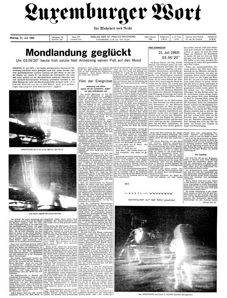 """Das Luxemburger Wort titelt am Morgen des 21. Juli """"Mondlandung geglückt""""."""