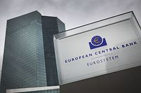 """The European Central Bank, ECB is pictured prior a meeting of the governing council of the ECB in Frankfurt am Main, western Germany, on December 12, 2019. - The European Central Bank is seeing the first encouraging signs that the eurozone growth slowdown is stabilising despite """"persistent global uncertainties"""", chief Christine Lagarde said. (Photo by Daniel ROLAND / AFP)"""