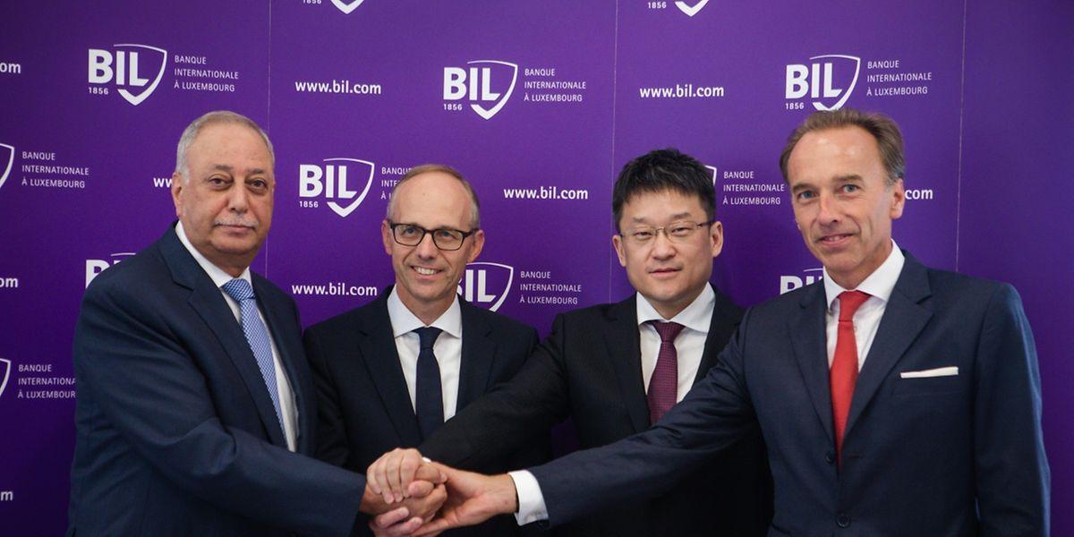 George Nasra (CEO Precision Capital), Luc Frieden (Verwaltungsratsvorsitzender der BIL), Peng Li (Senior Vice-President Legend Holdings) und Huges Delcourt (CEO BIL) (v.l.)