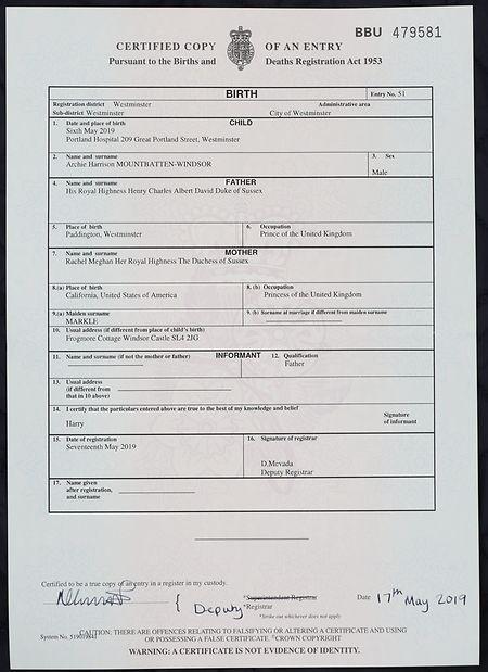 Die Geburtsurkunde von Archie Harrison Mountbatten-Windsor, der Sohn von Prinz Harry und seiner Frau Meghan, Herzogin von Sussex.