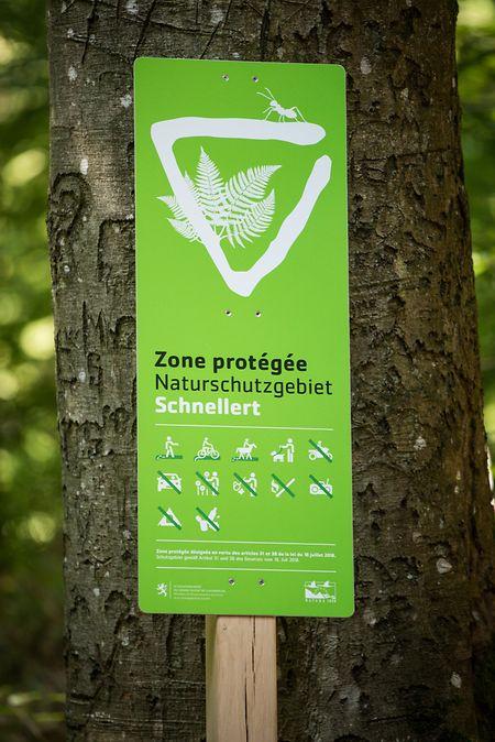 Naturschutzgebiete sind einheitlich gekennzeichnet, die Piktogramme erläutern, was erlaubt ist und was nicht.