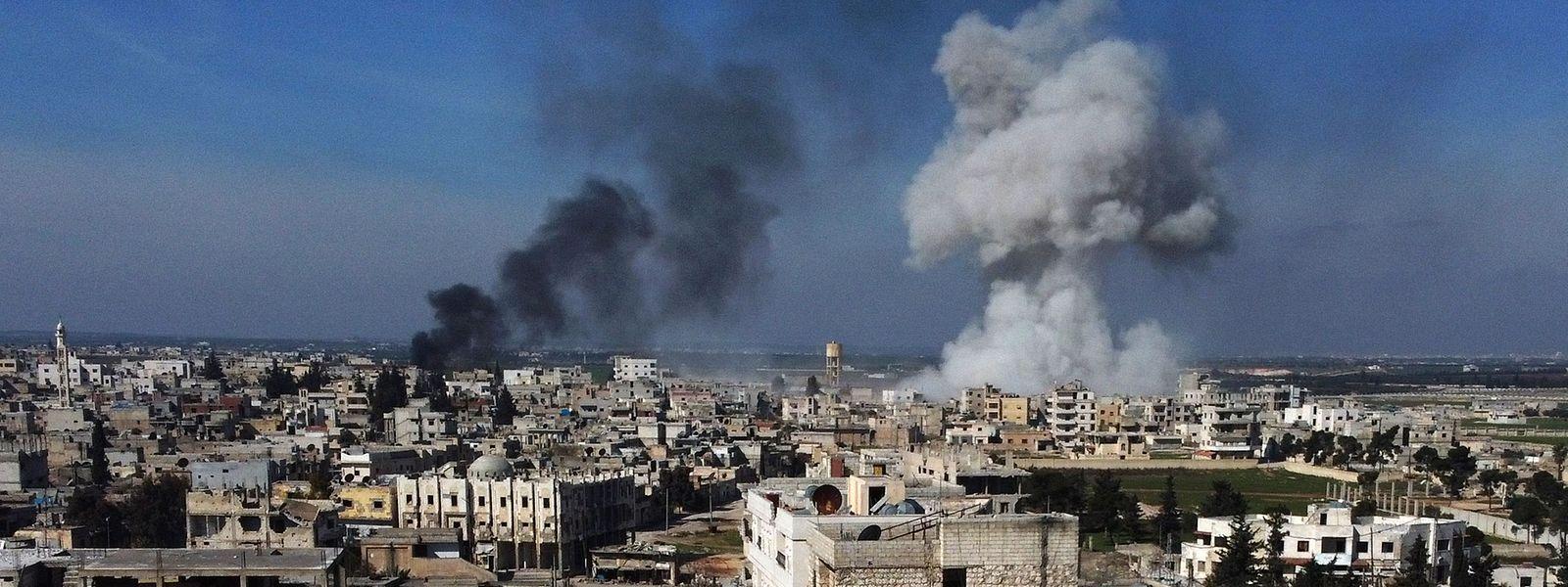 Bombardements à Saraqib, à l'Est de la province d'Idleb.